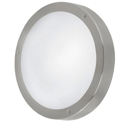 AUßENLEUCHTE Edelstahlfarben, Weiß - Edelstahlfarben/Weiß, Basics, Glas/Metall (28,5cm)