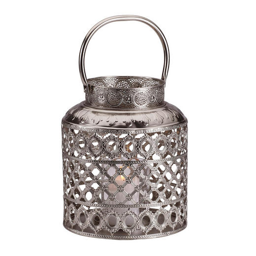 LATERNE - Silberfarben, Glas/Metall (28/33cm) - Ambia Home