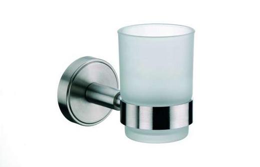 ZAHNPUTZBECHER - Edelstahlfarben, Basics, Glas/Metall (13/9.5/6.5cm)