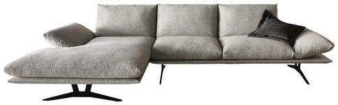 WOHNLANDSCHAFT Grau Flachgewebe  - Schwarz/Grau, Design, Textil/Metall (155/314cm) - Dieter Knoll