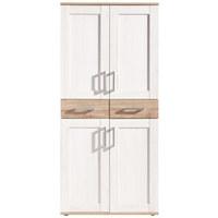 OMARA ZA ČEVLJE bela, hrast - aluminij/bela, Design, umetna masa/leseni material (90/195/38cm) - Landscape