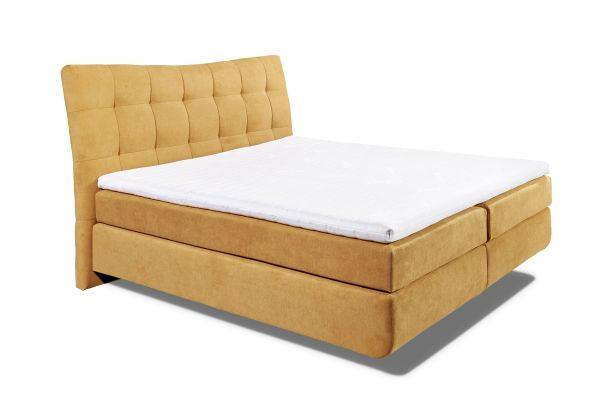 POSTELJA BOXSPRING 180 cm   x 200 cm  , leseni material, tekstil temno rumena - temno rumena, Design, umetna masa/leseni material (192/131/230cm) - CARRYHOME