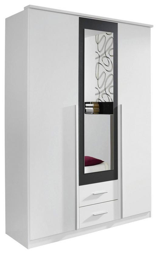 DREHTÜRENSCHRANK 3-türig Grau, Weiß - Alufarben/Weiß, Basics, Glas/Holzwerkstoff (136/199/56cm) - Carryhome