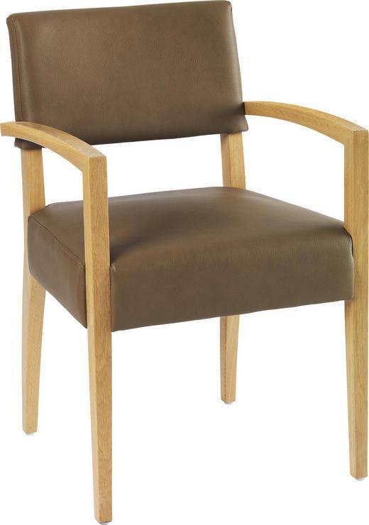 ARMLEHNSTUHL Lederlook Eiche massiv Braun - Braun, Design, Holz/Textil (56/86/60cm)