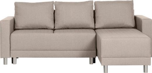 WOHNLANDSCHAFT Webstoff Bettkasten, Rücken echt, Rückenkissen, Schlaffunktion, Stauraum - Beige/Silberfarben, Design, Kunststoff/Textil (215/145cm) - Carryhome