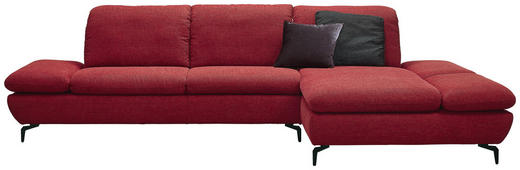 WOHNLANDSCHAFT in Textil Rot - Silberfarben/Rot, Design, Textil/Metall (315/200cm) - Chilliano
