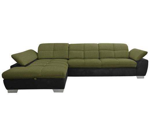 WOHNLANDSCHAFT in Textil Grün, Schwarz - Chromfarben/Schwarz, Design, Textil/Metall (204/297cm) - Xora