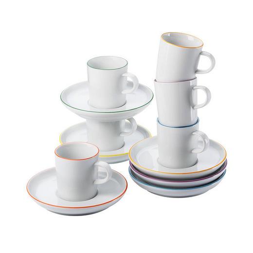 Porzellan  ESPRESSO SET 12-teilig - Multicolor/Weiß, Keramik