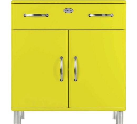 KOMMODE lackiert, Melamin Gelb  - Gelb/Nickelfarben, Design, Holzwerkstoff/Metall (86/92/41cm) - Carryhome