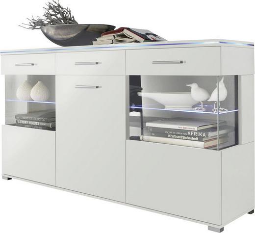 SIDEBOARD Hochglanz, melaminharzbeschichtet Weiß - Silberfarben/Weiß, Design, Glas/Holz (150/84/38cm) - Carryhome