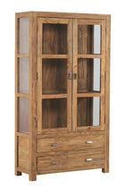 VITRINE Sheesham massiv Sheeshamfarben - Sheeshamfarben/Naturfarben, LIFESTYLE, Glas/Holz (100/180/40cm) - LANDSCAPE
