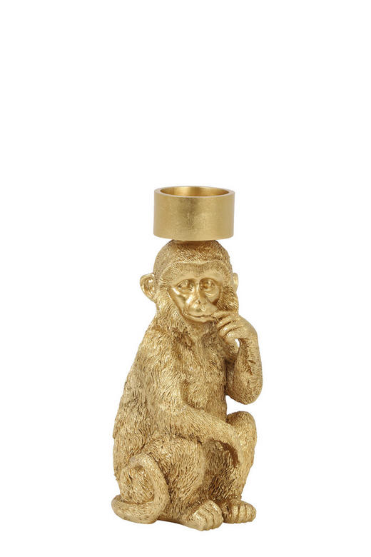 TEELICHTHALTER - Goldfarben, Trend, Kunststoff (9,5/11/21cm)
