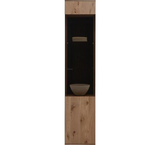 VITRINE Kerneiche vollmassiv Eichefarben  - Eichefarben/Anthrazit, Design, Glas/Holz (43/205/44cm) - Valnatura