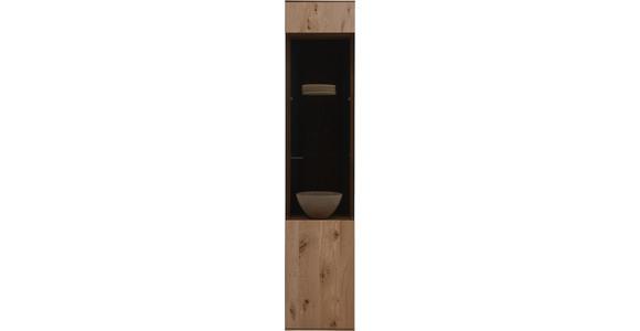 VITRINE in vollmassiv Kerneiche Eichefarben - Eichefarben/Anthrazit, Natur, Glas/Holz (43/205/44cm) - Valnatura