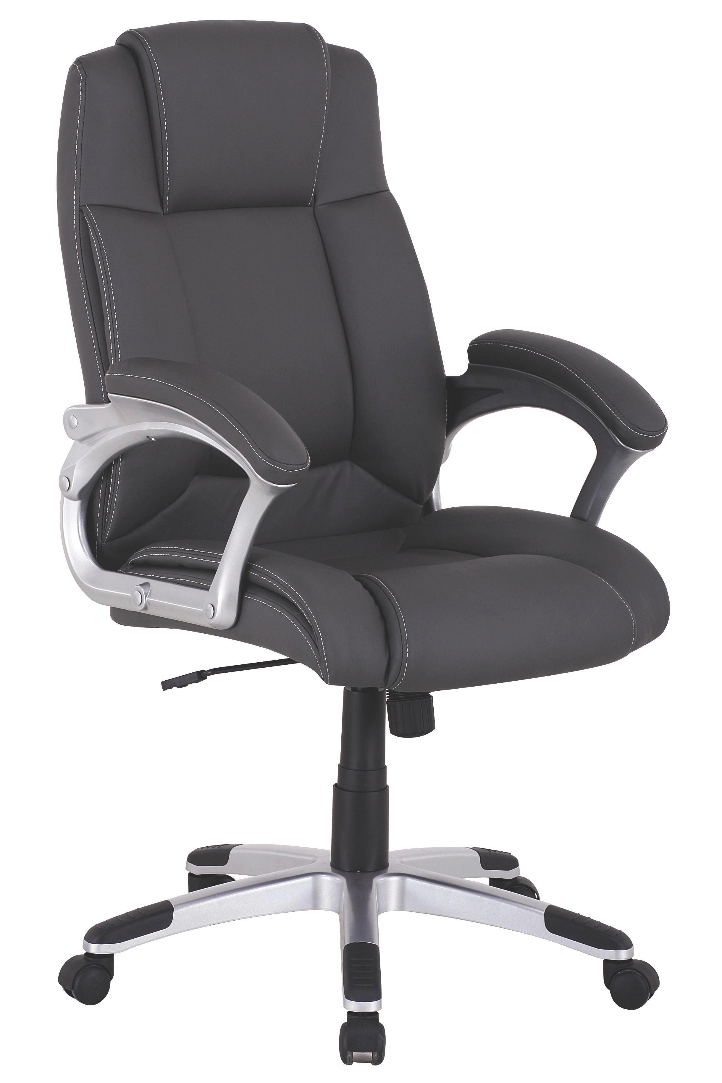 CHEFSESSEL Lederlook Grau, Silberfarben - Silberfarben/Weiß, Design, Kunststoff/Textil (65/109-118,5/65cm) - CARRYHOME