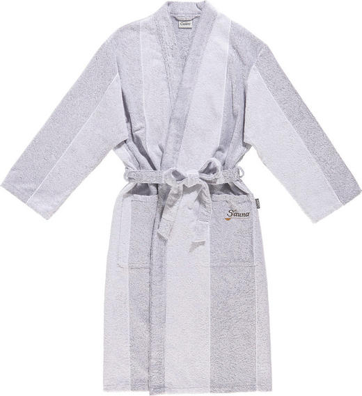 BADEMANTEL  Grau, Silberfarben - Silberfarben/Grau, Basics, Textil (L) - CAWOE