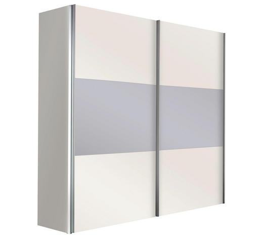 SCHWEBETÜRENSCHRANK in Weiß - Alufarben/Weiß, Design, Glas/Holzwerkstoff (200/216/68cm) - Hom`in