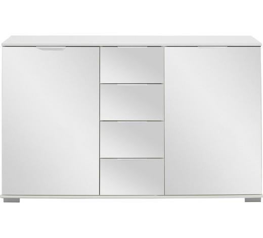 ANRICHTE in Weiß - Alufarben/Weiß, Design, Glas/Holzwerkstoff (130/83/41cm) - Carryhome
