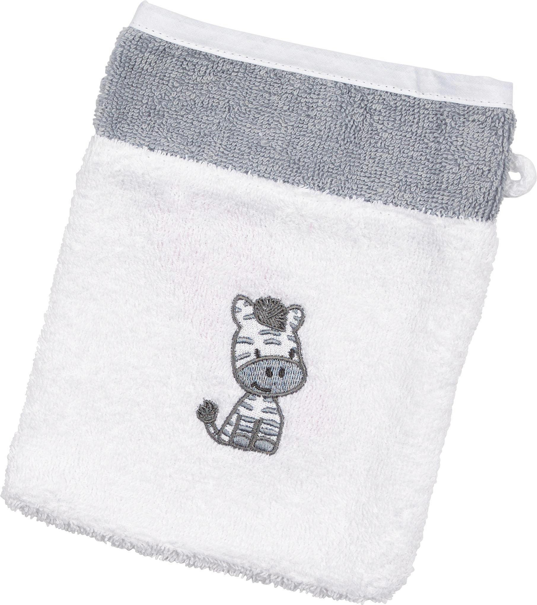 BABYWASCHHANDSCHUH - Weiß/Grau, Textil (16/20cm) - MY BABY LOU