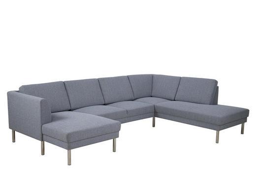 WOHNLANDSCHAFT in Textil Hellgrau - Hellgrau/Nickelfarben, KONVENTIONELL, Textil/Metall (142/308/213cm) - Carryhome