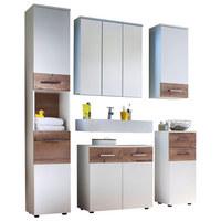 BADEZIMMER - Fichtefarben/Weiß, Design, Glas/Holzwerkstoff (170/194/35cm) - Xora