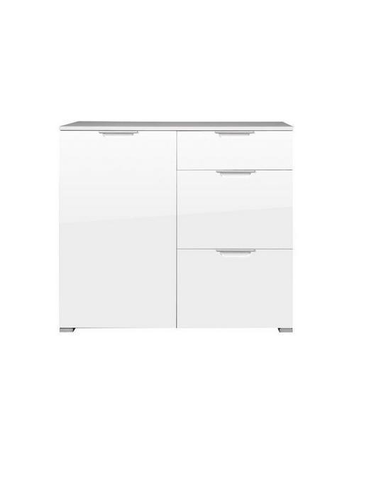KOMMODE Weiß - Silberfarben/Alufarben, Design, Holzwerkstoff/Kunststoff (96/84/40cm) - Xora