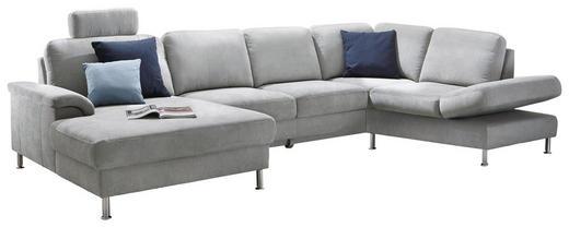 WOHNLANDSCHAFT Velours Rücken echt - Chromfarben/Hellgrau, Design, Textil (159/353/206cm) - Pure Home Comfort