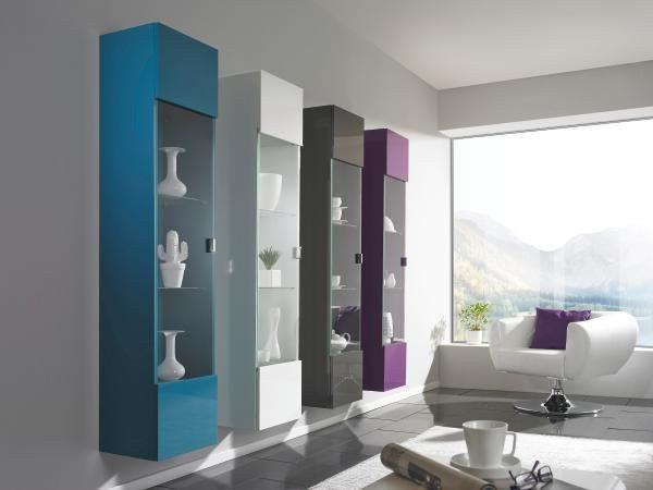 VÄGGHÄNGT VITRINSKÅP - vit/kromfärg, Design, glas/träbaserade material (35/160/30cm)