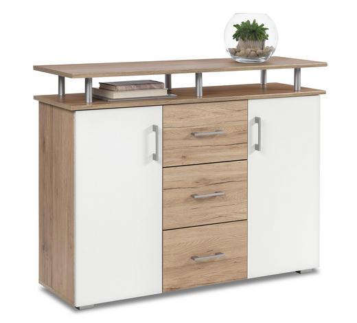 KOMMODE 116/90/38 cm - Eichefarben/Silberfarben, KONVENTIONELL, Holzwerkstoff/Kunststoff (116/90/38cm)