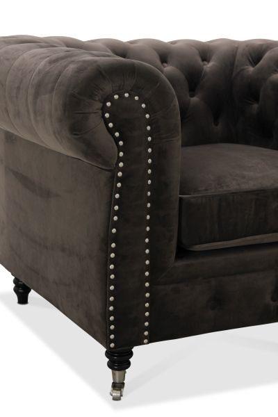 SOFFA - svart/grå, Klassisk, metall/trä (214/77/95cm) - Low Price