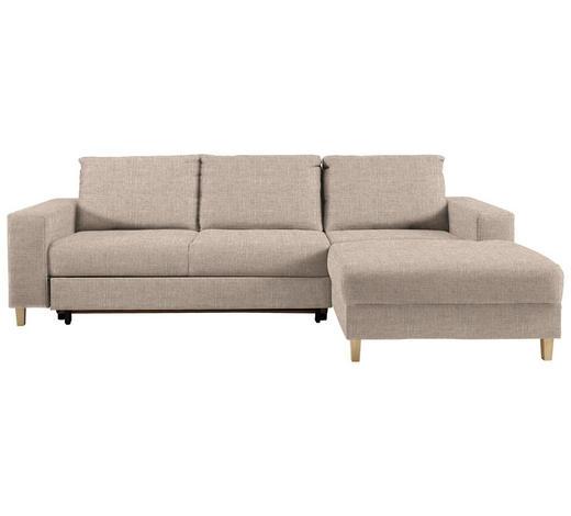 WOHNLANDSCHAFT in Textil Beige - Beige/Buchefarben, Design, Holz/Textil (260/160cm) - Ti`me