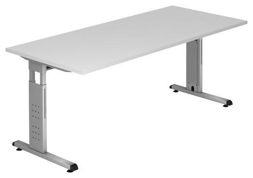SCHREIBTISCH Weiß - Silberfarben/Weiß, KONVENTIONELL, Metall (180/65-85/80cm)