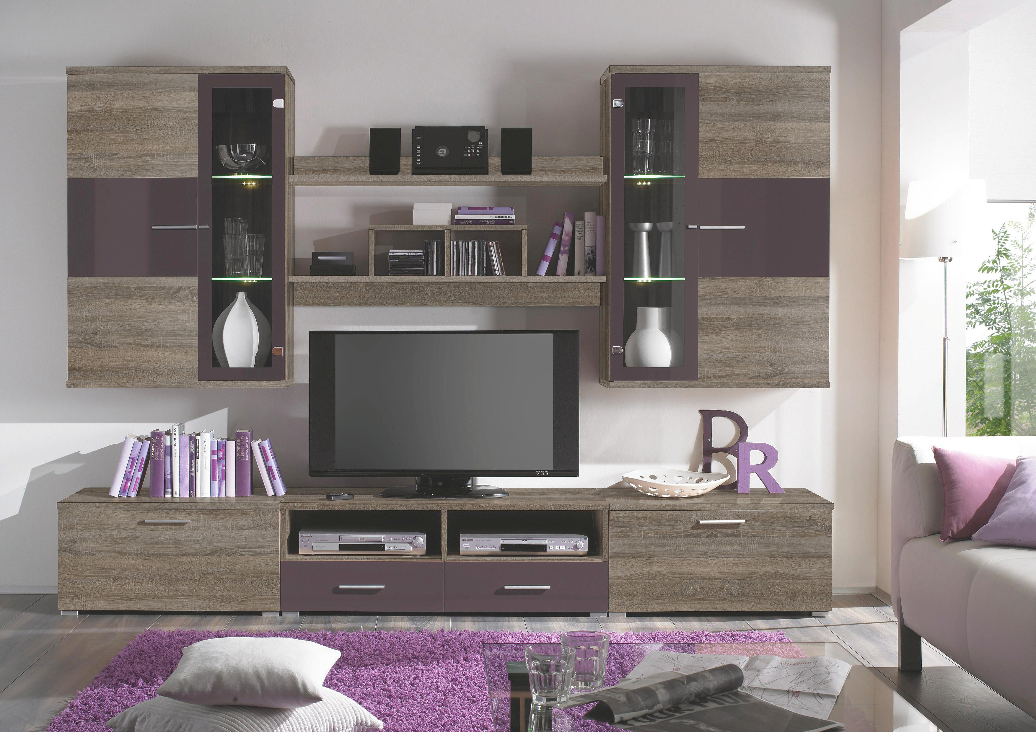 REGAL ZA DNEVNI BORAVAK - boje hrasta/boje srebra, Design, staklo/drvni materijal (260/192/46cm) - XORA