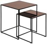 BEISTELLTISCHSET in Metall, Glas   - Schwarz/Bronzefarben, Design, Glas/Metall (45/50/45cm) - Carryhome
