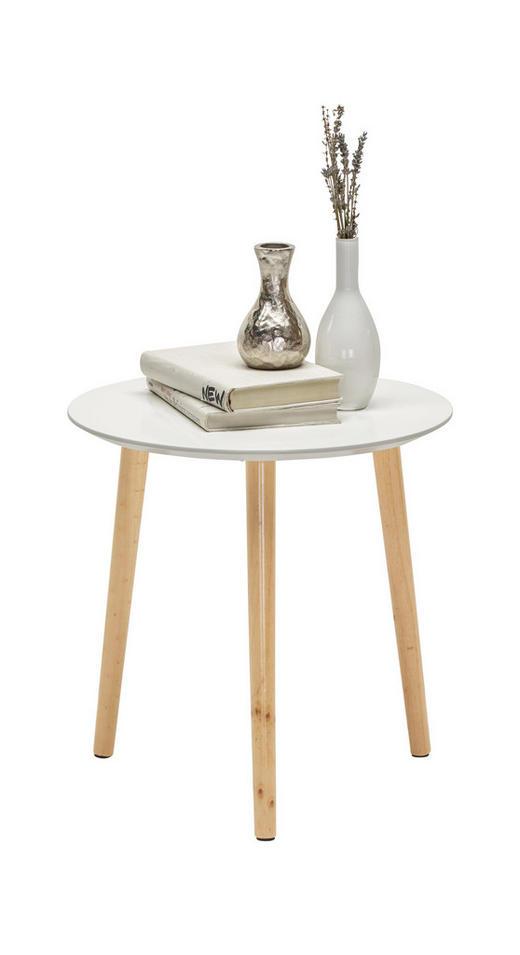 BEISTELLTISCH Kiefer teilmassiv rund Kieferfarben, Weiß - Weiß/Kieferfarben, Design, Holz (40/40cm) - Carryhome