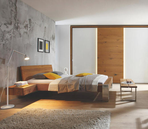 BETT Wildeiche massiv 180/200 cm - Eichefarben/Alufarben, Design, Holz/Metall (180/200cm) - Hasena