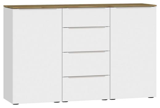 SIDEBOARD Eichefarben, Weiß - Edelstahlfarben/Eichefarben, Design, Holzwerkstoff/Kunststoff (135/87/43cm) - Jutzler