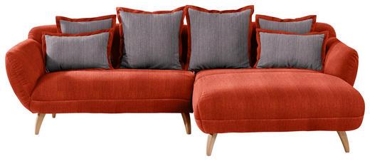 WOHNLANDSCHAFT in Textil Dunkelgrau, Rot - Dunkelgrau/Rot, Design, Holz/Textil (280/175cm) - Carryhome