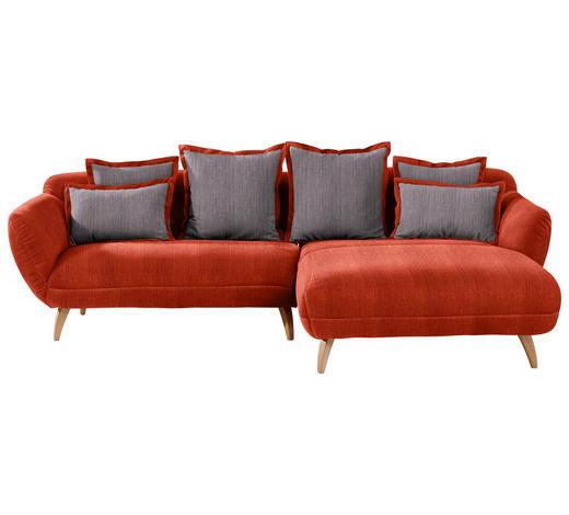 WOHNLANDSCHAFT in Textil Rot, Dunkelgrau  - Dunkelgrau/Rot, Design, Holz/Textil (280/175cm) - Carryhome