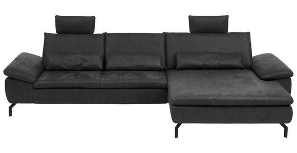 WOHNLANDSCHAFT in Textil Anthrazit  - Anthrazit/Schwarz, Design, Textil/Metall (341/181cm) - Dieter Knoll