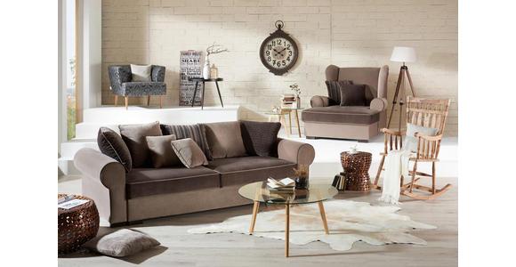 BIGSOFA in Textil Creme, Naturfarben - Creme/Braun, ROMANTIK / LANDHAUS, Kunststoff/Textil (256/74-90/106cm) - Hom`in