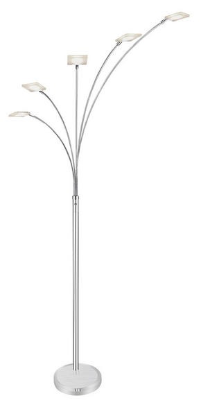 LED-GOLVLAMPA - alufärgad/kromfärg, Klassisk, metall/plast (197/60/55cm) - Novel