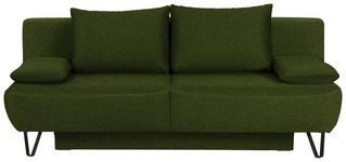 SCHLAFSOFA in Textil Dunkelgrün - Dunkelgrün/Schwarz, MODERN, Textil/Metall (202/90/91cm) - Xora
