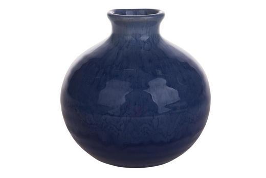 VASE 12 cm - Dunkelblau, Trend, Keramik (12cm)