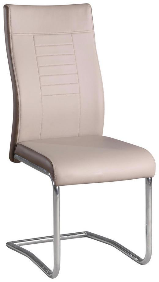 SCHWINGSTUHL Lederlook Creme, Dunkelbraun - Chromfarben/Dunkelbraun, Design, Textil/Metall (43/98/60cm) - CARRYHOME