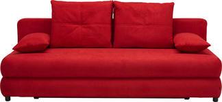 SCHLAFSOFA Webstoff Rot - Rot/Schwarz, Design, Kunststoff/Textil (208/73-90/102cm) - Hom`in