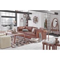 SOFA Echtleder Braun - Schwarz/Braun, Trend, Leder/Holz (229/73/99cm) - Ambia Home