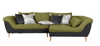 WOHNLANDSCHAFT in Textil Anthrazit, Grün  - Anthrazit/Naturfarben, Design, Holz/Textil (313/175cm) - Carryhome