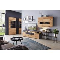 OBÝVACÍ STĚNA, barvy dubu, hnědá - barvy dubu/černá, Design, kov/dřevo (295/181/56cm) - Dieter Knoll