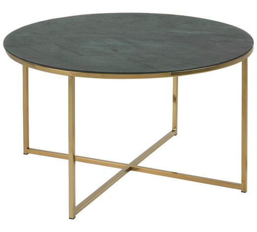 COUCHTISCH rund Grau, Grün, Goldfarben  - Goldfarben/Grau, Trend, Glas/Metall (80/80/45cm) - Carryhome